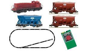 Fleischmann-931701-Analog-Startset-Diesellok-Em4-4-SBB-Gleisschotterzug-Spur-N