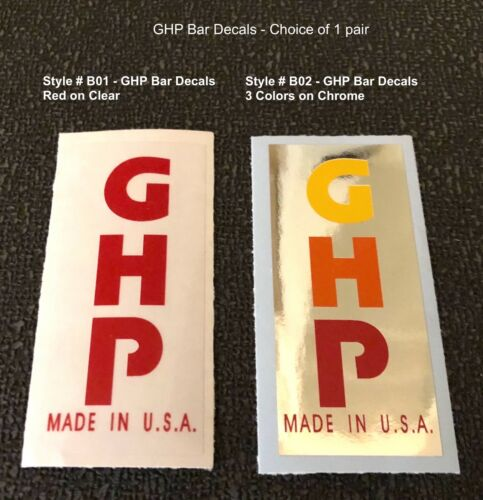choice decal 1 pair GHP Bar decals Seat Mast /& Post decals /& Head tube decals