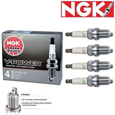 4 NGK V-Power Plug Spark Plugs 2002-2006 for Nissan Sentra 2.5L L4 Kit Set