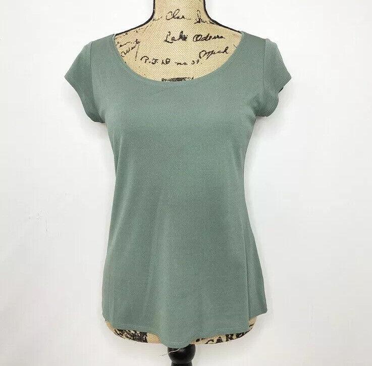 Eileen Fisher Silk Top XS Green Short Sleeve Shirt - image 1