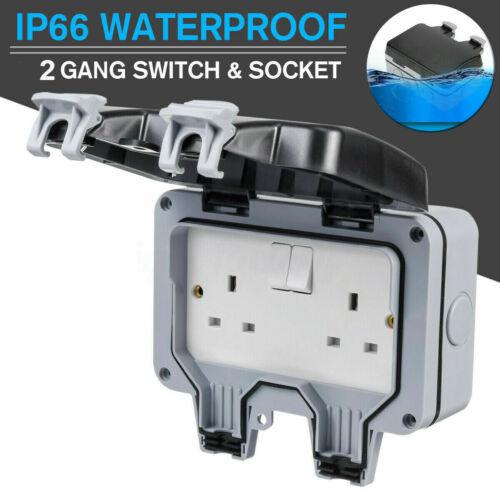 Power Electric Socket Switch 2 Gang Weatherproof Outdoor Garden Plug Box Cover