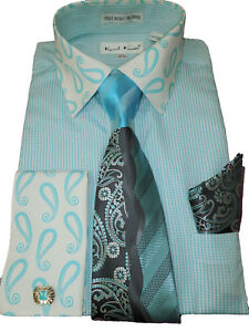 1648c56034a Mens Karl Knox Lovely Teal White Paisley Cuff Collar Dress Shirt Tie ...