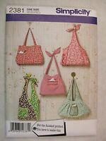 Purse Bags Sewing Pattern Simplicity 2381 See Full Listing Info