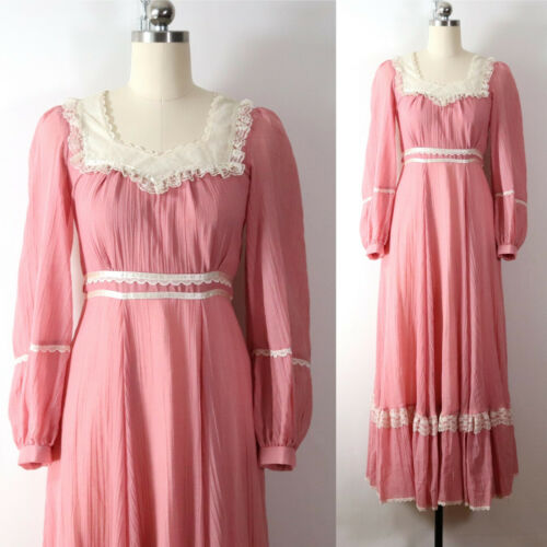 vintage 70s gunne sax rose pink maxi dress guaze l