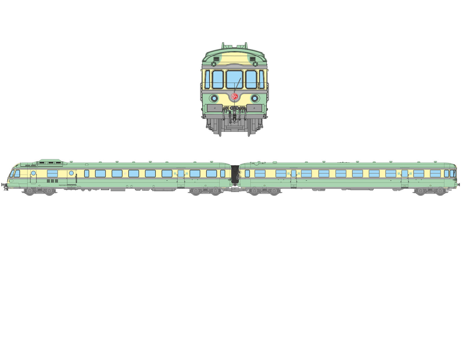 Ree NW-132 dieseltriebw. RPG 1 X-2722 + Car XR-7722 Metz-Sablons SNCF Ep. III