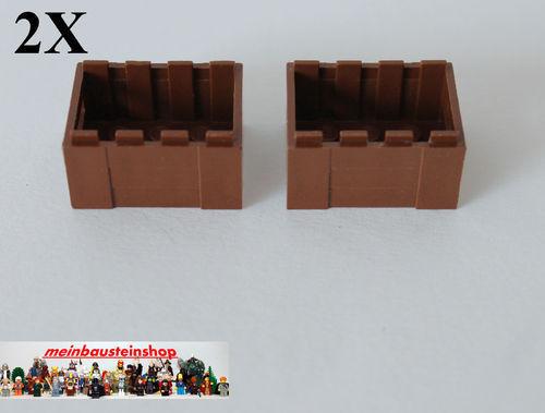 2X Lego® 30150 Kiste Box Container 3X4X2 alt Braun Brown
