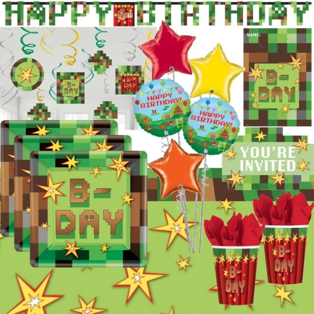 Minecraft Happy Birthday Jointed Banner Hang Decoration Pixel Video Game Party