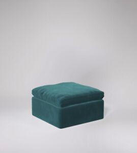Swoon Seattle Living Room Modern Kingfisher MTO Easy Velvet Ottoman - RRP £359