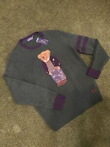 NWT-Polo-Ralph-Lauren-Men-039-s-Forest-Green-Preppy-Bear-Wool-Sweater-398-Sz-Large