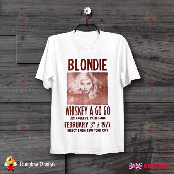 Cooperativa Whiskey A Go Go Blondie 70s Poster Retrò Fresco Vintage Hipster Unisex Maglietta B5