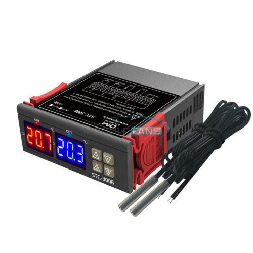 STC-3008 Thermostat Dual LED Temperature Controller NTC Probe 12V//24V//110V-220V