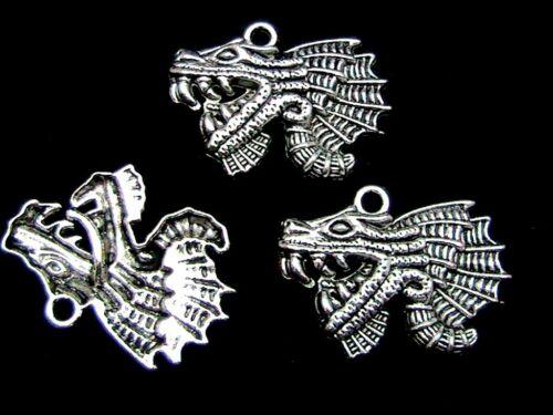 Pendants 37mm Jewellery Craft Pendant Y180 5 x  Tibetan Silver Dragon Charms