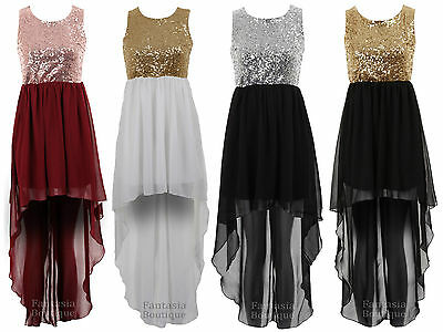 Womens Gold Sequin Open Back Fishtail Chiffon High Low Ladies Maxi Party Dress