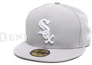 New Era 5950 CHICAGO WHITE SOX Light Grey White Cap MLB Fitted Baseball Hat