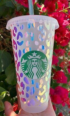 New Cheetah Leopard Personalize Starbucks Reusable Cold Cup Tumbler 24oz Venti Ebay