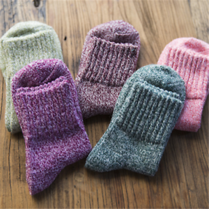 4F39 Sale 5 Pairs Womens Wool Cashmere Indoor Thicken Dress Sock Warm Casual Out