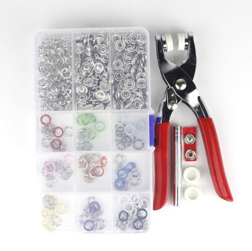150 ensembles de 10 couleurs métal 9.5 mm Prong Ring Snap Fasteners//Presse rivets No-Sew Button