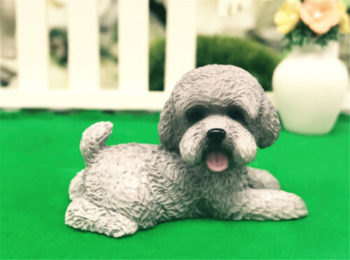 2Pcs Bichon Frise Cute Dog Pet Poodle Figure Animal Model Collector Toy Kid Gift