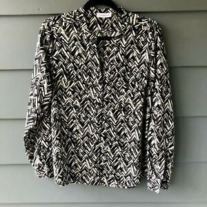 Calvin Klein Sz L White & Black Print Button Front Blouse EUC (C2)