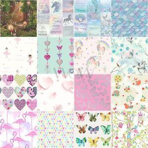 Details About Girls Kids Wallpaper Flamingo Unicorn Hearts Mermaid Llama Stars