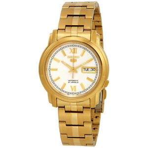Seiko-5-SNKK84-K1-Gold-with-White-Dial-Stainless-Steel-Men-039-s-Automatic-Watch