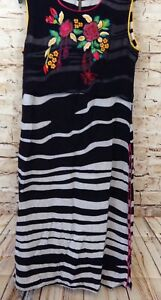 NEERUS-India-Dress-Black-embroidered-Floral-Maxi-Long-Side-Slit-womens-large-E6