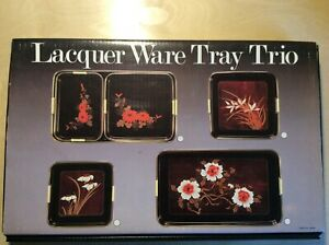 LACQUER-WARE-TRAY-TRIO-3-PIECE-SET-Orginal-Package-made-in-Japan