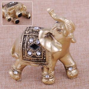 2X-Elefanten-Figur-Feng-Shui-Elephant-Trunk-Statue-Lucky-Wealth-Figurine-Deko