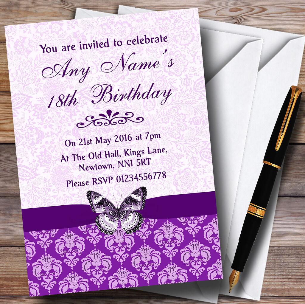 Cadbury púrpura Floral Mariposa Personalizado Fiesta De Cumpleaños Invitaciones