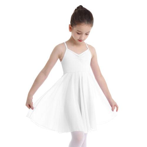 Girls Gymnastics Leotard Ballet Dance Dress Chiffon Tutu Skirt Dancewear Costume