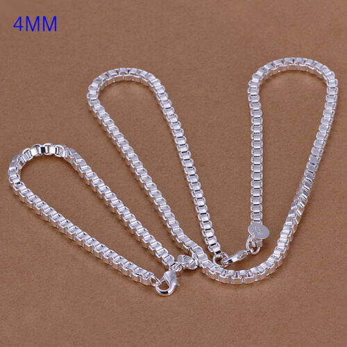 Sterling solid silver box chain necklace/&bracelet Jewelry Sets XLSS026 hot