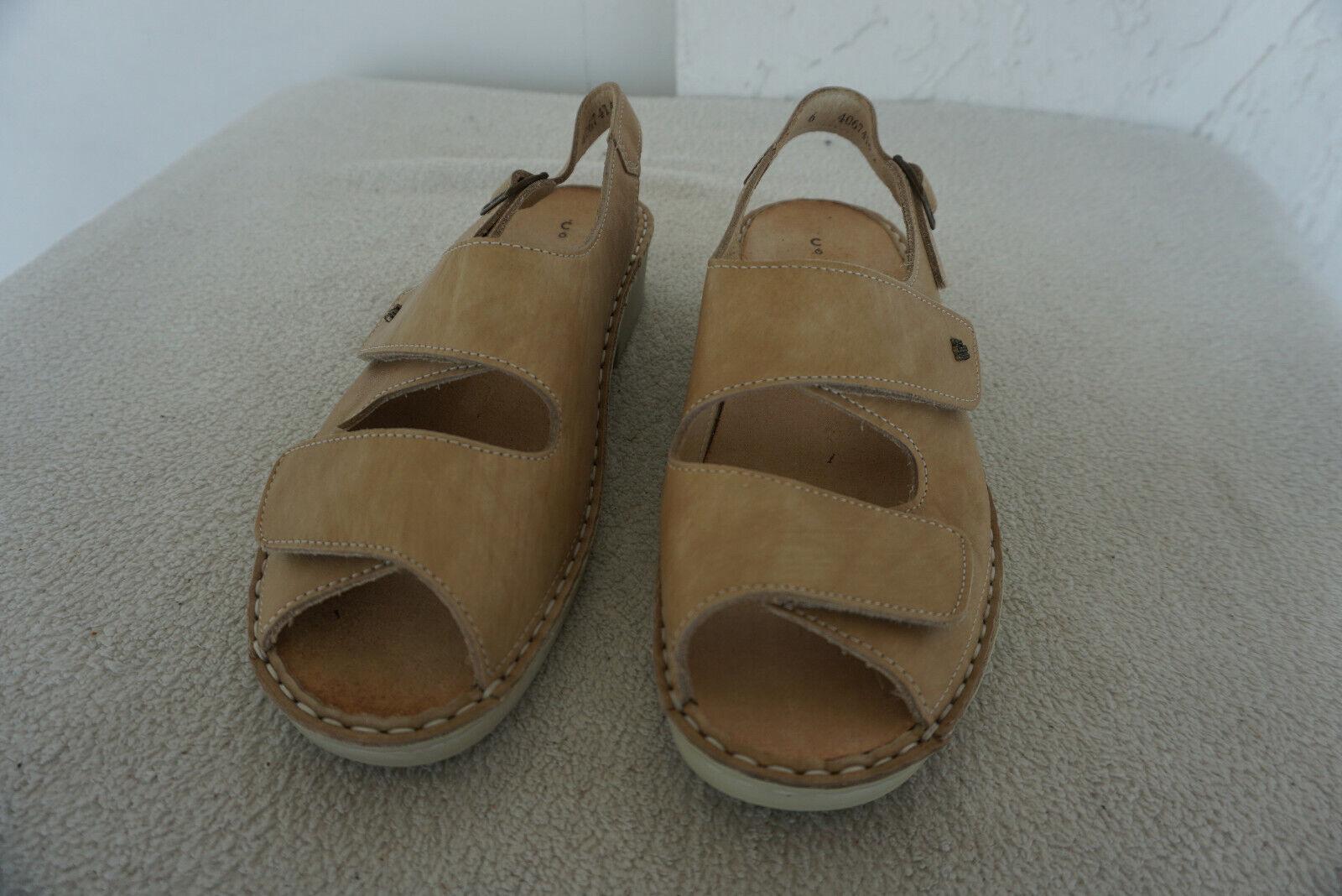 FINN COMFORT TAHITI Schuhe Sandalen clogs mit Einlagen Gr.6  39 Beige Leder NEU
