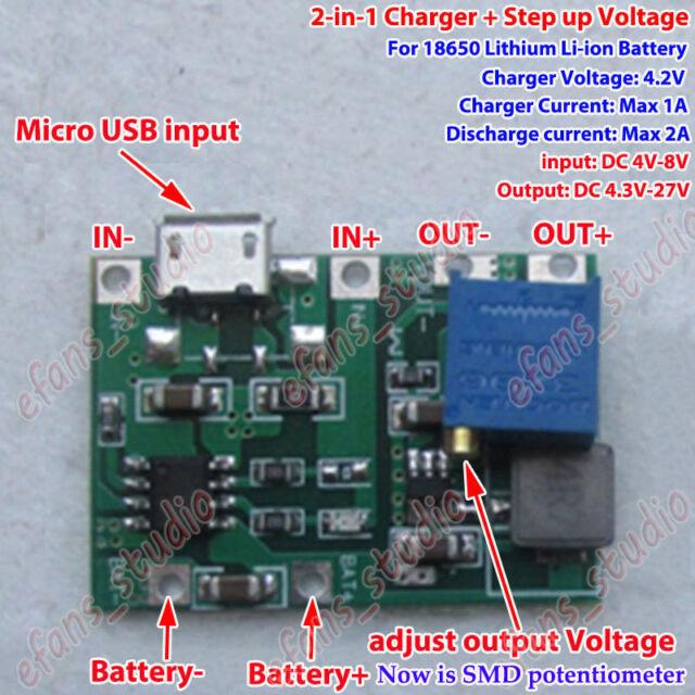 USB Lithium Li-ion 18650 Battery Charger Module 3.7v 4.2v Boost Step Up 9V 6F22