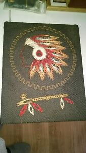 ANTIQUE-NATIVE-AMERICA-CHIEF-ON-BURLAP-ON-WOOD-HANDCRAFTED-ESTATE