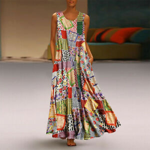Women-Vintage-Floral-Patch-Print-Dress-Sleeveless-O-Neck-Casual-Loose-Maxi-Dress