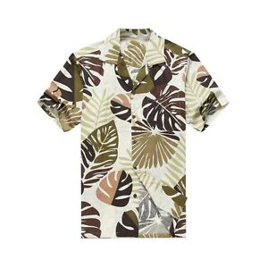 Made in Hawaii Men Hawaiian Aloha Shirt Luau Cruise Party Plumeria Palm Green
