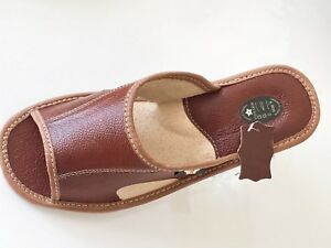 Mens Brown Sandals Mulle Flip Flop Leather Slippers Shoe Size7 8 9 10 11 12 13