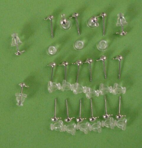 en plastique dos 10 pr earstuds avec une boucle SU//Acier Posts /& SP Caps