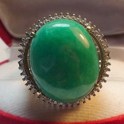 BIG! 23.55 ct NATURAL CABOCHON GREEN EMERALD RING 925 STERLING SILVER.SIZE 7.5.