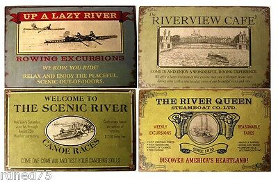 River Advertising Set TIN SIGN rustic vintage boat metal wall art decor LOT-ohw