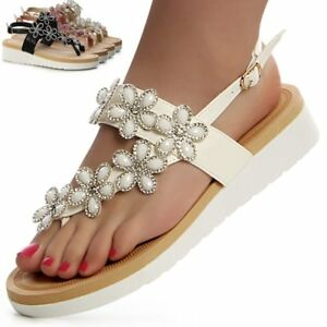 Zapatos-Mujer-Plataforma-Chanclas-de-dedo-Brillo-Flores-Sandalias-Tacon-De-CunA