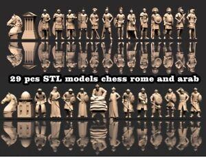 29pcs 3D STL Models Chess set rome for CNC Router Artcam Aspire Cut3d 3D printer