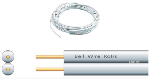 20 METRES OF WHITE 2 CORE FLAT DOOR BELL WIRE FLEXIBLE CABLE
