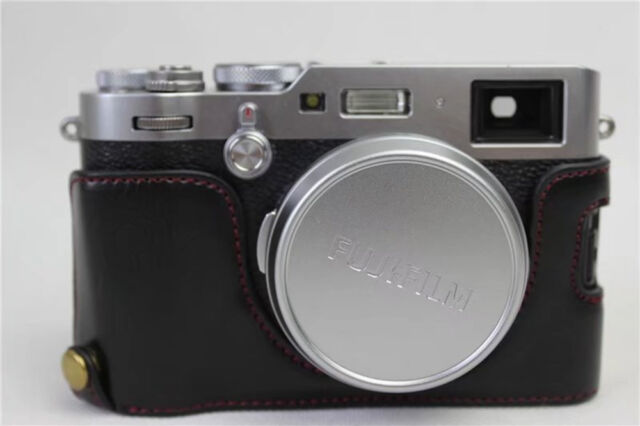 New PU Leather Half Camera Bottom Case Cover For Fujifilm Fuji X100F--Black