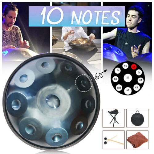"""10 Notes 22/"""" Hand Drum Carbon Steel Handmade Percussion Tongue Drum Art W// Bag"""