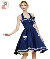 HELL BUNNY MOTLEY 50's nautical rockabilly DRESS sailor NAVY BLUE
