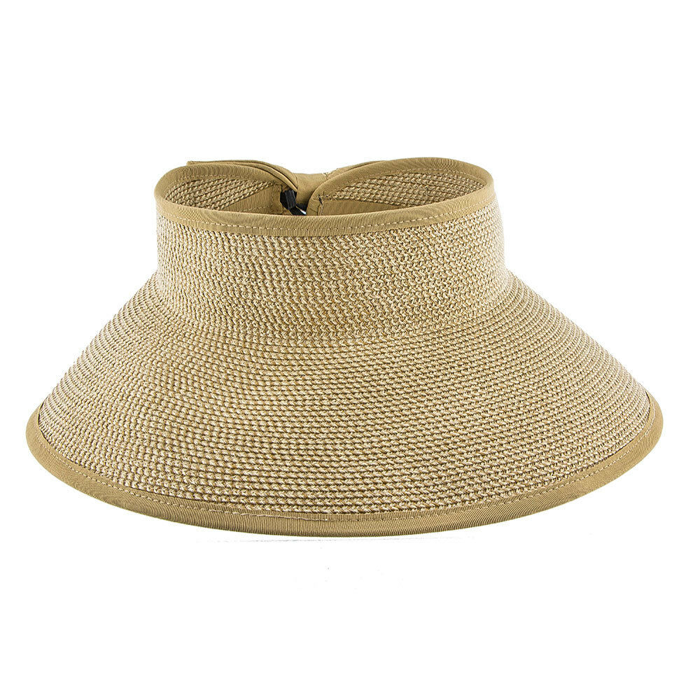 47bb0d876 Jeanne Simmons Tan/tweed Toyo Straw Tan Tweed Roll up Visor Hat ...