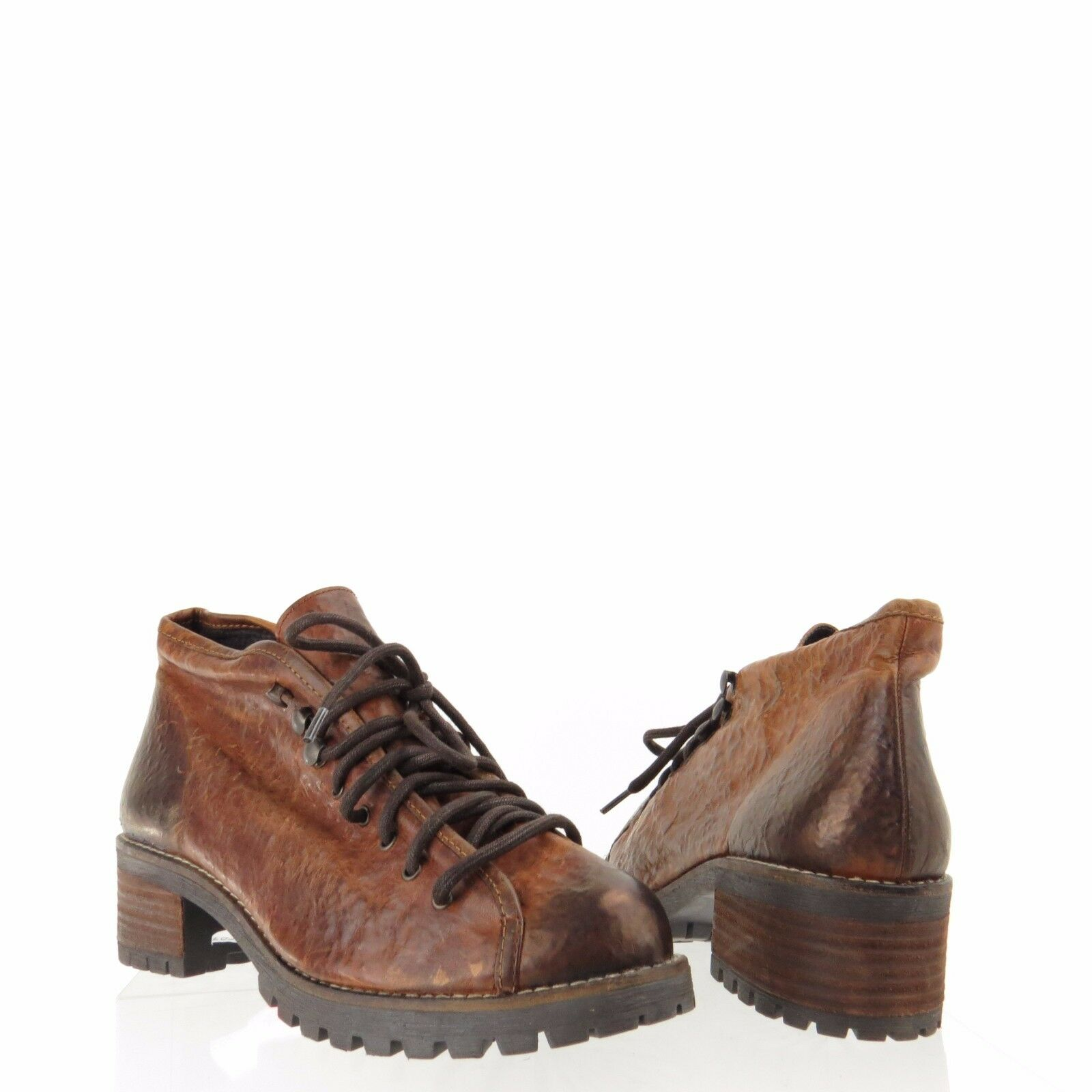 Women's Topshop Apprentice Shoes Brown Leather Lace Up Ankle Boots Size 42 NEW