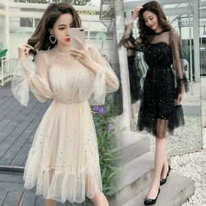 Lady-Hollow-Out-Dress-Star-Sequins-Retro-Mesh-Elegant-Fairy-Gothic-Lolita-New