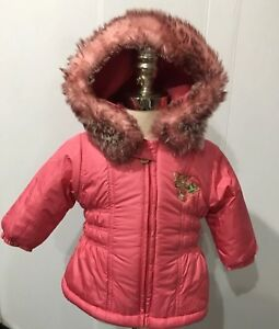 dacbe428c2d7 pampolina Peach-Pink Warm Hooded Winter Baby Girl Jacket Coat Sz.6-9 ...
